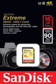 Sandisk Extreme 16GB SDHC U3 (90mb/s) Class 10  Memory Card